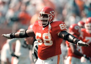 Kansas City Chiefs guard Will Shields (68) celebrates during the Sept. 8 2002 away game against the Cleveland Browns. The Chiefs won 40-39.